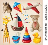 set of colorful vintage toys... | Shutterstock .eps vector #128666228