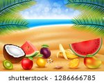 tropical fruit in the beach by... | Shutterstock . vector #1286666785