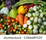 mixed vegetables on shelves in... | Shutterstock . vector #1286689105