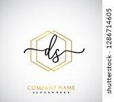 ds initial handwriting logo...   Shutterstock .eps vector #1286714605