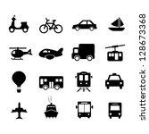 transportation icon set black... | Shutterstock .eps vector #128673368