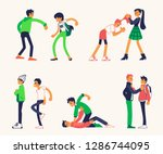 vector violence  bulling and... | Shutterstock .eps vector #1286744095