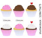 vector set of cupcakes | Shutterstock .eps vector #128675675