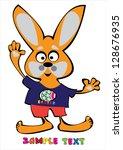 vector cartoon easter rabbit... | Shutterstock .eps vector #128676935
