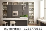 modern white kitchen with dark... | Shutterstock . vector #1286770882
