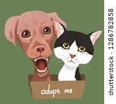 pet adoption poster.dog and cat ... | Shutterstock .eps vector #1286782858
