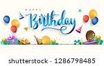 happy birthday typography...   Shutterstock .eps vector #1286798485