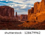sandstone monuments  arches... | Shutterstock . vector #128679962