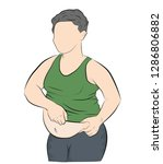 fat man with a big belly.... | Shutterstock .eps vector #1286806882