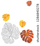 vector tropical pattern with... | Shutterstock .eps vector #1286840278