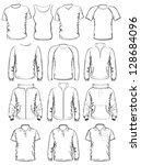 Collection of men clothes outline templates. vector illustration