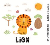 Stock vector hand drawn vector illustration of a cute lion african landscape with text isolated objects on 1286841388
