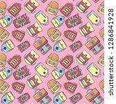 bag pattern seamless. cartoon... | Shutterstock .eps vector #1286841928
