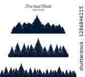 hand drawn pine forest textured ... | Shutterstock .eps vector #1286846215