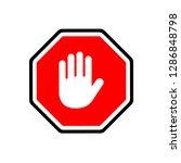 stop hand gesture on octagonal... | Shutterstock .eps vector #1286848798