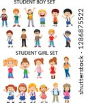 general materials   girl and... | Shutterstock .eps vector #1286875522