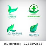 vector abstract green leaf logo ... | Shutterstock .eps vector #1286892688
