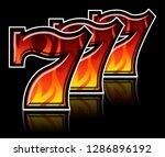 triple lucky blazing sevens... | Shutterstock .eps vector #1286896192