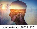 man silhouette on rural... | Shutterstock . vector #1286911195