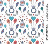 seamless pattern with cute hand ... | Shutterstock .eps vector #1286933182