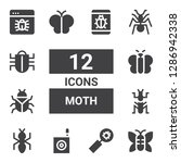 moth icon set. collection of 12 ... | Shutterstock .eps vector #1286942338