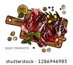 spanish jamon or parma ham on...   Shutterstock .eps vector #1286946985