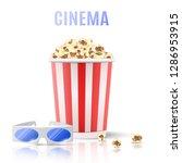 banner for cinema. popcorn and... | Shutterstock .eps vector #1286953915
