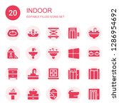 indoor icon set. collection of... | Shutterstock .eps vector #1286954692