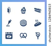 dessert icon set and oven with...