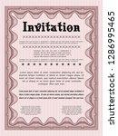 red retro invitation template.... | Shutterstock .eps vector #1286995465