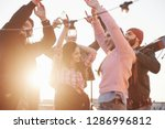 conception of party. hands up.... | Shutterstock . vector #1286996812