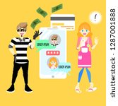 male man cyber hacker scammer...   Shutterstock .eps vector #1287001888