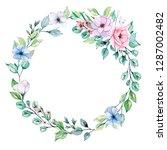 wreath  flowers drawing ... | Shutterstock . vector #1287002482
