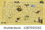 cartoon kids maze in dinosaur... | Shutterstock . vector #1287032242