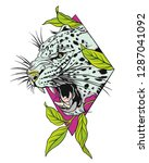 leopard face  color tattoo.... | Shutterstock .eps vector #1287041092