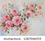 Stock photo oil painting roses flowers 1287046555