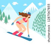 cartoon snowboarder girl in... | Shutterstock .eps vector #1287067855