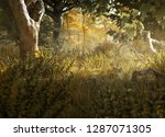 beautiful forest clearing  3d... | Shutterstock . vector #1287071305