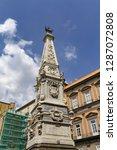 san domenico obelisk in naples... | Shutterstock . vector #1287072808