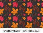 leaf maple  horse chestnut  elm ... | Shutterstock .eps vector #1287087568