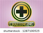 shiny badge with medicine icon ... | Shutterstock .eps vector #1287100525