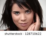 cute girl with messy or... | Shutterstock . vector #128710622