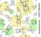 sketch stag beetles seamless... | Shutterstock .eps vector #1287106345