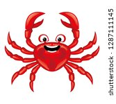 funny red crab icon on white... | Shutterstock .eps vector #1287111145