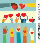 share your love. hands with... | Shutterstock .eps vector #1287111715