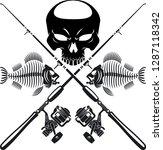 human skull and fish skeleton... | Shutterstock .eps vector #1287118342