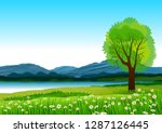 natural landscape with blue sky ... | Shutterstock . vector #1287126445