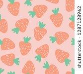 strawberry pattern. vector... | Shutterstock .eps vector #1287128962