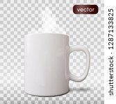 realistic white cup isolated on ... | Shutterstock .eps vector #1287133825