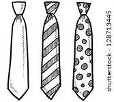 doodle style necktie assortment ... | Shutterstock .eps vector #128713445